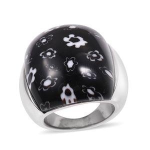 Jewelry - Black Murano Millefiori Glass Stainless Steel Ring